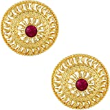 MEENAZ Traditional Temple 1 One Gram Gold Studs Ethnic 18k Brass South Indian Meenakari Screw Back Round Ruby Pink Stone Stud