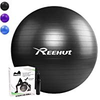REEHUT Exercise Ball 55cm 65cm 75cm Anti-Burst Core with Pump & Manual for Yoga, Balance, Workout, Fitness…