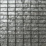 Azulejos de mosaico de cristal alfombrilla gris con textura efecto piedra de lava (mt0121)