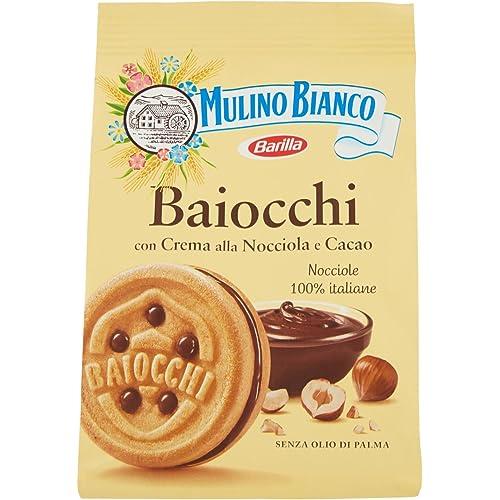 Mulino Bianco Biscotti Baiocchi con Crema alla Nocciola e Cacao, Colazione Ricca di Gusto, 260 gr