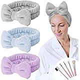 YMHPRIDE Fascia per capelli Spa - Fascia per capelli con fiocco in 3 pezzi per ragazze Donne Fascia per capelli elastica ador