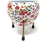 Bloomingdale Designer Plant Pot Including Rust Free Metal Stand for Indoor and Out Door Gardening (Floral Red)