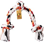 Foodie Puppies Cotton Rope Bone Dog Chew 3 Knots Toy (Colour May Vary, 13-inch)
