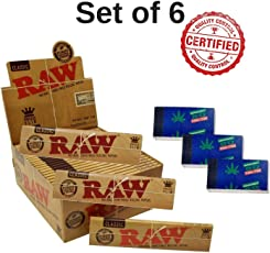 Scoria 3 RAW King Size Rolling Paper and 3 Roach Book - Set of 6 (96 Leaves)