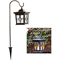 esto24® LED Solar Laterne Kupfer Vintage incl. Metallstange zum Aufhängen Kerze mit Flammeneffekt und 4 Solarzellen mit…