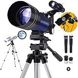 Telescopio Astronomico per Principianti e Bambini, 70/300 150X, Dotato Di Treppiede, Adattatore Smartphone, Tapparella e…