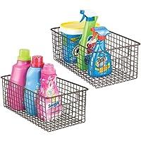 mDesign stockage produits d'entretien (lot de 2) – boîte de rangement pratique et polyvalente pour armoires – panier de…