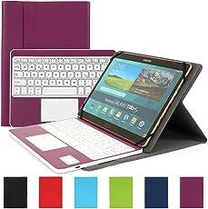 Besmall Wireless Touch Bluetooth Drahtlose Tastatur mit QWERTZ Tastaturlayout für Android Windows Tablet Smartphone(Mit PU-Hülle,Lila)