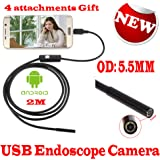 CARPRIE 5.5mm/7mm Waterproof Mini Endoscope USB Wire Snake Tube Inspection Borescope Compatible with Android Smartphone…