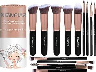 NEWFIAR set pennelli make up,set professionale di 14 pezzi, pennelli per il viso e per gli ombretti con una scatola, idea regalo - colore: oro rosato