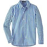 Spring&Gege Camisa de vestir de popelina de cuadros de manga larga para niños