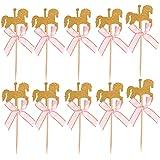 NUOBESTY 20 pz Topper Cupcake a Forma di Cavallo con Arco Torta Picks Stuzzicadenti Decorazioni per Compleanno Baby Shower Ba
