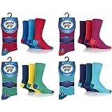 6 Pairs Mens Colourburst Mix1 Gentle Grip Cotton Socks, UK Size 6-11