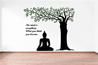 Rawpockets Decals 'Lord Buddha Under Tree and Quote on Mind' Wall Sticker - (PVC Vinyl, 110 cm x 95 cm, Multicolour)