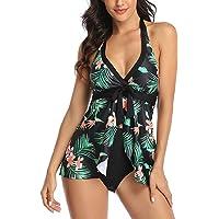 FLYILY Costume da Bagno Due Pezzi Tankini Set Beachwear Moda Stampa Costumi da Bagno Set con Boyshort