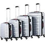 Set de 4 valises rigides Argent S/M/L/XL 4 Roues 360° Bagage poignée télescopique Plastique ABS Serrure Cadenas à Combinaison