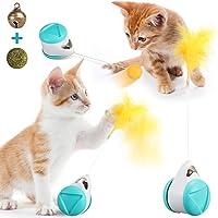 JOSEKO Balance Katzenspielzeug Interaktiv, Katzenminze Ball & Glocken Balance Drehender Swing Autospielzeug Interessant…