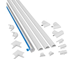 D-Line 3015KIT001 4-Meter Mini Trunking Multipack, Self-Adhesive Cord Cover, Electrical Wire Tidy, Popular Cable Management S