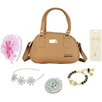 AJMERI Little Girl Princess Makeup Dress-up Kit My First Essential Purse Set with Satin Fashion Headbands; Necklace; Bracelet; Jewel Rings and Mini Folding Mirror with Cool Kids Accessories; 7 Pieces