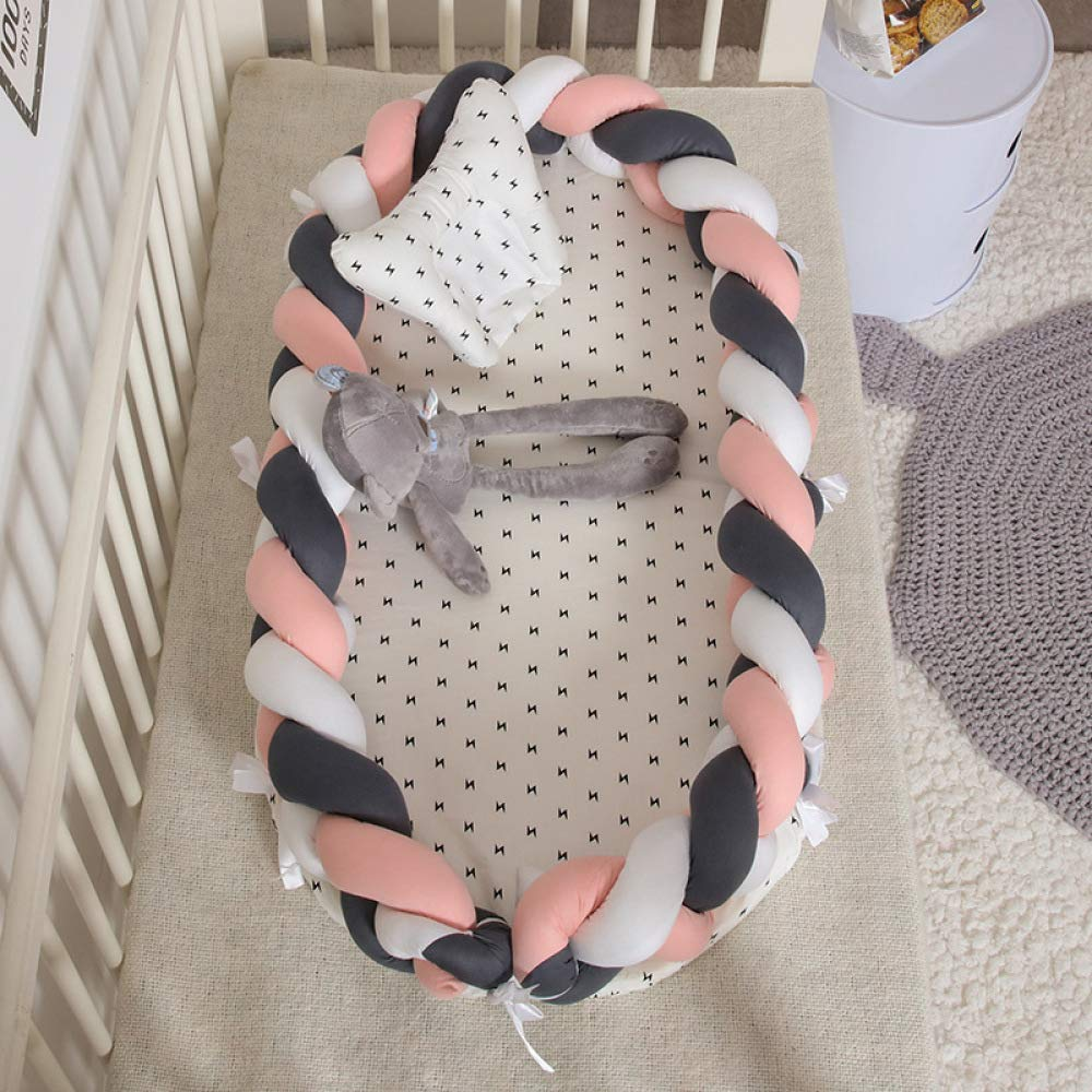 Hypoallergenic Co-Sleeping Baby Bed,Baby Bed,White For 0-24 Months,100/% Organic Cotton-Breathable YANGGUANGBAOBEI Baby Lounger Cushion