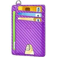 FurArt Porta Carte di Credito, Protezione RFID Portafoglio Sottile Minimalista con Tasca Frontale, Smontaggio D-Shackle