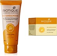 Biotique Bio Sandalwood Sunscreen Ultra Soothing Face Lotion, SPF 50+, 50ml and Biotique Bio Sandalwood Face & Body Sun Cream Spf 50 Uva/Uvb Sunscreen For All Skin Types In The Sun