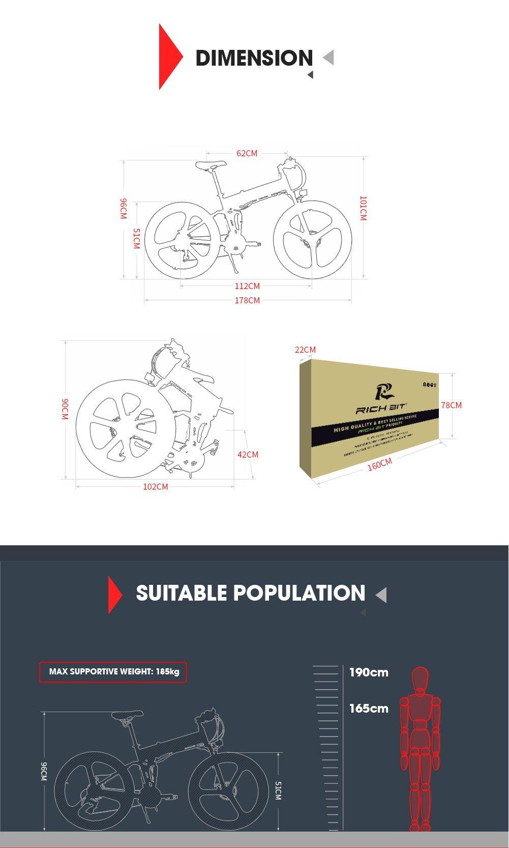71mWNNlp 1L - eBike_RICHBIT 860 Men Folding Electric Bike 17 X 26 Inch Mountain Bike Full Suspension 250 W 36V 12.8AH ebike