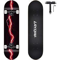 Completo Skateboard Professionale,tavola in acero a 8 strati,31'' x 8'' skateboard double kick deck concavo,Adatto per…