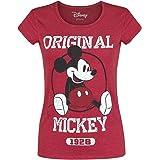 Micky & Minnie Original Mujer Camiseta Rojo Jaspeado, Regular