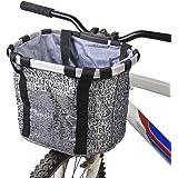 GXZOCK Fietsmand voor, opvouwbaar, waterdicht, gemakkelijk te installeren, afneembare stuurmand, tas voor kleine hond, pickni