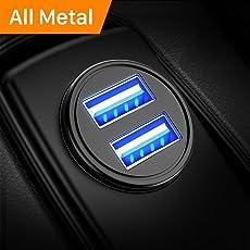 DIVI Caricabatteria auto USB 4.8A Caricatore adattatore universale 2 Porte Super Mini Alluminio macchina per iPhone, iPad, Tablet, Smartphone e gli altri dispositivi USB by (Nero) (1 confezione)