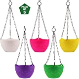 Leafy Tales Plastic Hanging Pot with Chain, 18.5 x 12.5 x 32 cm, 5 Pieces, DCP