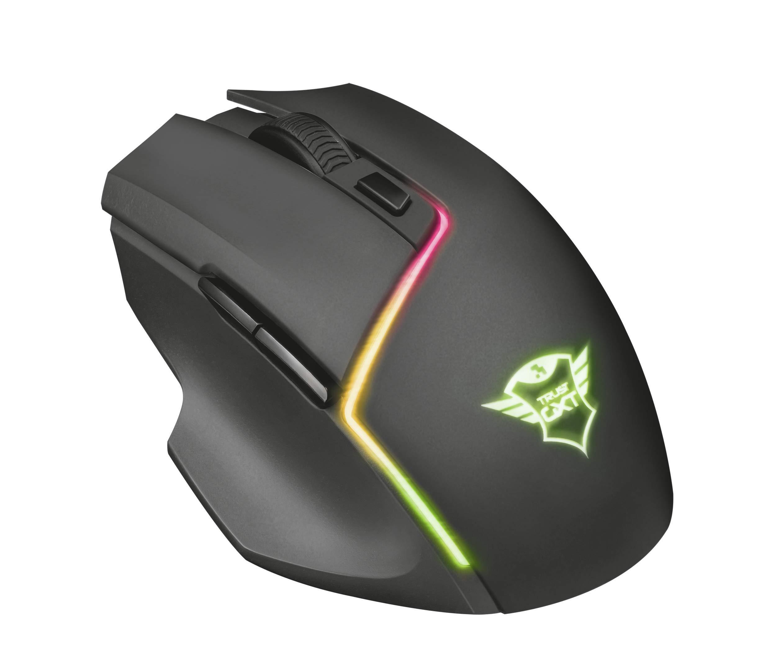 Trust GXT 161 Disan – Ratón inalámbrico gaming RGB con batería recargable y sofware avanzado, color negro