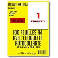 SECRETDRESSING ® - 100 planches A4 de 1 etiquette = 100 étiquettes autocollantes papier adhésif blanc - 199,6 x 289,1 mm…