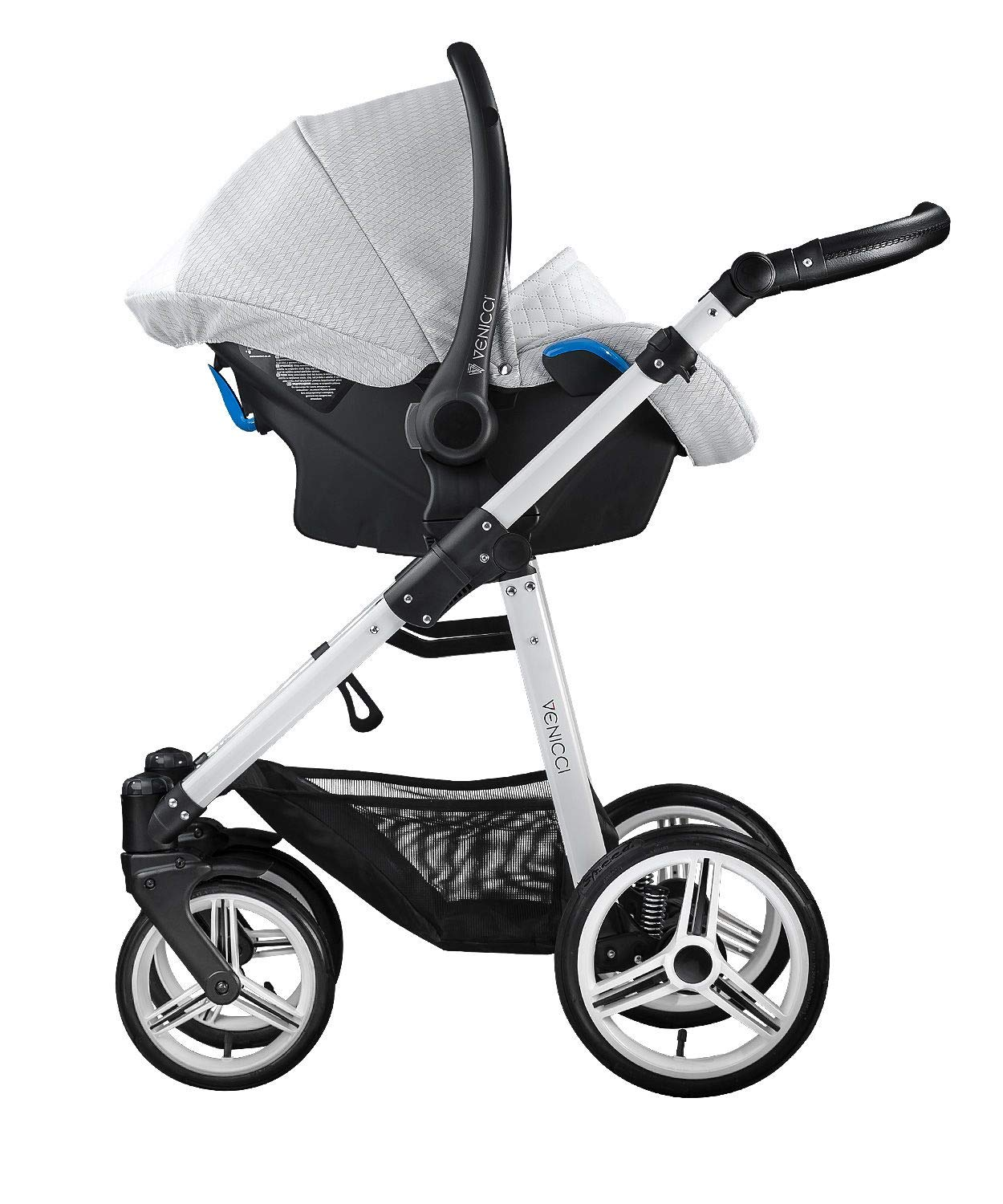 Venicci Pure 3-in-1 Travel System - Stone Grey - with Carrycot + Car Seat + Changing Bag + Apron + Raincover + Mosquito Net + 5-Point Harness and UV 50+ Fabric + Car Seat Adapters + Cup Holder  3 in 1 Travel System with included Group 0+ Car Seat Suitable for your baby from birth until 36 months 5-point harness to enhance the safety of your child 4