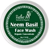 Rustic Art Organic Neem Basil Face Wash Concentrate for Mild Exfoliation | Anti Acne, Pimples, For Oily, Acne Prone Skin| 50g