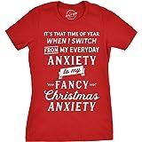 Womens Fancy Christmas Anxiety Tshirt Funny Holiday Season Tee for Ladies