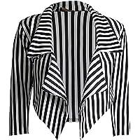 GirlzWalk Women ¾ Sleeves Stripes Print Open Front Waterfall Crop Blazer Jacket