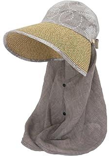 Roffatide Damen Abnehmbare Gro/ßer Krempe Stroh Visor Multifunktionale Sommerh/üte UV Schutz Aufrollen Sonnenhut
