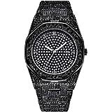 Relojes de Hip Hop para Hombre. Diamantes Helados Reloj Bling Bling Reloj de Pulsera Plata/Oro