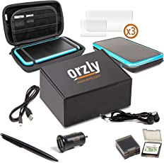 2DSXL Accessories, Orzly Ultimate Starter Pack for New Nintendo 2DS XL (Bundle includes: Car Charger / USB Charging Cable / Console Case / Cartridge Cases & more... (See full description for details)