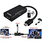 VEECOME USB Male to HDMI Female Adapter Cable Durable for Cellphone Tablet TV