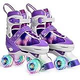 Gonex Verstellbar Rollschuhe für Kinder,mit Leuchtenden Rädern Roller Skates Bequem und atmungsaktiv Quad Skates für Mädchen,