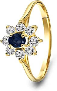 MIORE - Anello di Fidanzamento in Oro Giallo 14 carati 585, con Zaffiro Blu e zirconi Taglio Rotondo