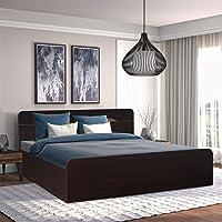 HomeTown Swirl Engineered Wood Box Storage King Size Bed in Denver Oak,Urban Teak Colour