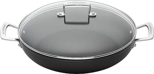 LE CREUSET Toughened Non-Stick Shallow Casserole Pot with Glass Lid, Diameter 24 cm, Black, 962007240
