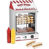 Royal Catering Hot Dog Steamer Würstchenwärmer RCHW 2000 (Kapazität: 200 Würstchen, 50 Brötchen, Leistung: 2.000 W, Edelstahl, Temperaturbereich: 30-110 °C, Ablassventil)