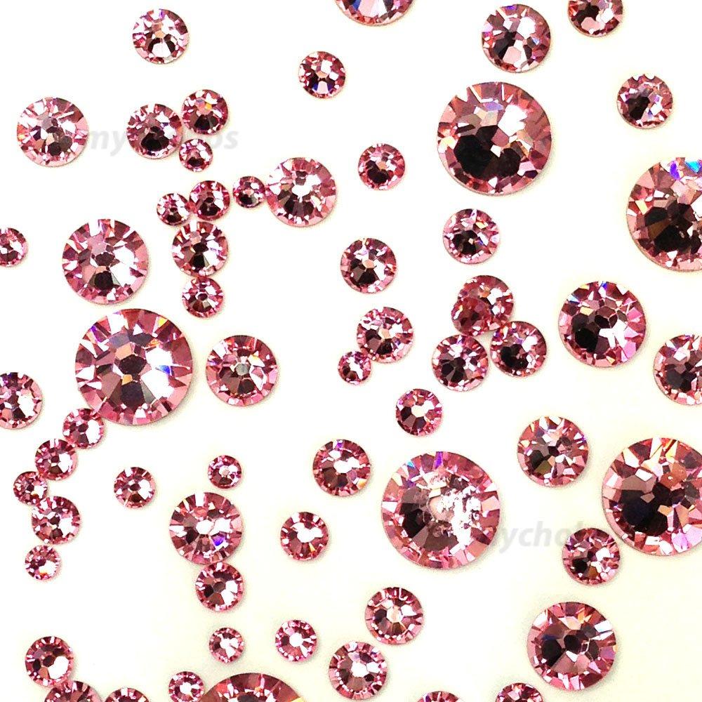 LIGHT ROSE (223) pink 144 pcs Swarovski 2058/2088 Crystal Flatbacks pink rhinestones nail art mixed