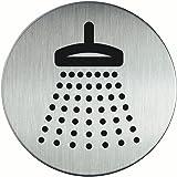 Durable 493823 Zelfklevende pictogram rond met symbool douche, metaalzilver, heeft een diameter van 83 mm
