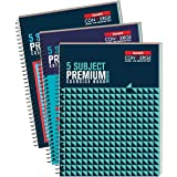 Luxor 5 Subject Spiral Premium Exercise Notebook, Single Ruled - (18cm X 24cm), 250 Pages, Pack of 3